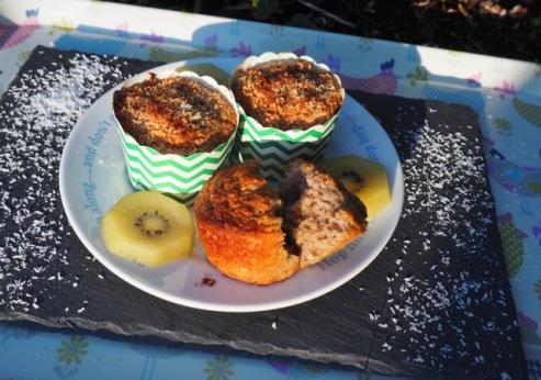 Muffin met havermout, kokos e banaan