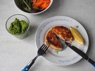 Fish cake and mushy peas